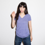Womens Heathered Slim V Neck Royal Blue Heather