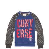 Boys Split Back Americana Crew Sweatshirt 6-12 Yrs Converse Navy