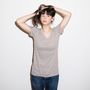 Womens Heathered Slim V Neck Morel Heather
