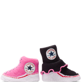 Infant All Star Frilly Sock Booties 2Pk 0-6 Months Black/Pink