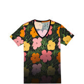 Womens Andy Warhol Floral V-Neck Boyfriend Tee Black