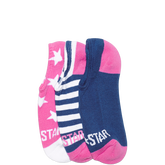 Youth Stars & Stripes No Show Socks 3 Pk Pink/Navy