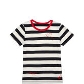 Womens Striped Shrunken Tee Black