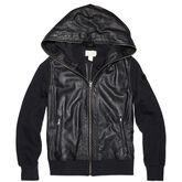 Womens Shroud Faux Leather Hoodie Converse Black