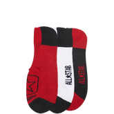 Mens 3 Pk Chuck Socks with Square Patch Red/White/Black