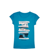 Girls Stacked Sneaker Tee Cyan Space
