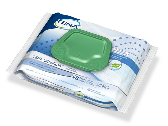 TENA Flushable Washcloths - 1 Pack 45 Count