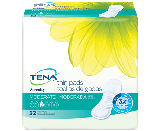 TENA Serenity Moderate Thin Pads Long 1 Pack - 32 Count