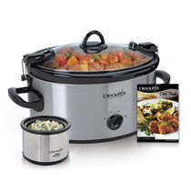 Crock-Pot® 6.5-Quart Cook & Carry™ Manual Slow Cooker with Little Dipper® Food Warmer, Brushed Stainless Steel, and BONUS Cookbook