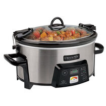 Crock-Pot® 6-Quart Cook & Carry™ Digital Slow Cooker with Heat-Saver™ Stoneware, Brushed Stainless Steel