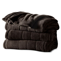 Sunbeam® Twin Channeled Microplush Heated Blanket, Walnut