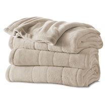 Sunbeam® Queen Velvet Plush Heated Blanket, Sand