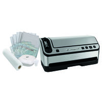 FoodSaver® Countertop V4880 2-In-1 Vacuum Sealing System, Stainless Steel with Starter Kit and Bonus Container
