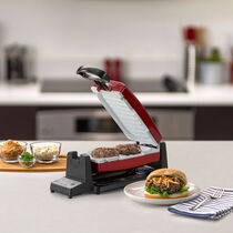 Oster® DuraCeramic™ Infusion Series 7-Minute Grill with Removable Plates, Red/White