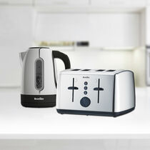Vista 1.7L Polished Stainless Steel & Plastic Kettle with Illumination and 4 Slice Toaster Set