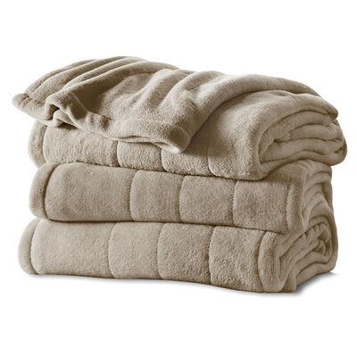 Sunbeam® Full Velvet Plush Heated Blanket, Mushroom