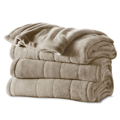 Sunbeam® Queen Channeled Microplush Heated Blanket, Mushroom