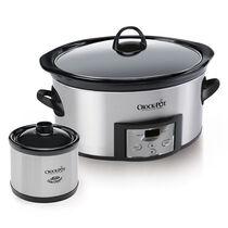 Crock-Pot® Countdown Digital Slow Cooker with Little Dipper® Food Warmer, Silver