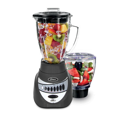 Oster® Precise Blend™ 700 Blender PLUS Food Chopper - Metallic Grey - Glass Jar