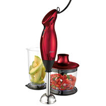 Oster® 2-Speed Immersion Hand Blender with Food Chopper Attachment, Metallic Red