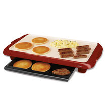 Oster® Titanium Infused DuraCeramic™ Griddle with Warming Tray, Candy Apple Red