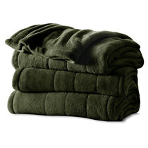 Sunbeam® Queen Velvet Plush Heated Blanket, Olive