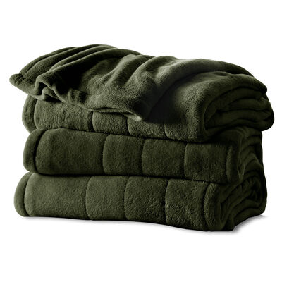 Sunbeam® King Velvet Plush Heated Blanket, Olive
