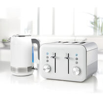 High Gloss Collection 1.7L Kettle and 4 Slice Toaster Set, White