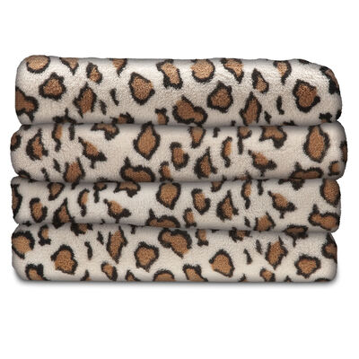 Sunbeam® Microplush Heated Throw, Leopard Print