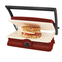Oster® DuraCeramic™ Panini Maker & Grill, Candy Apple Red