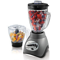 Oster® Precise Blend™ 300 Blender PLUS Food Chopper - Metallic Grey - Glass Jar