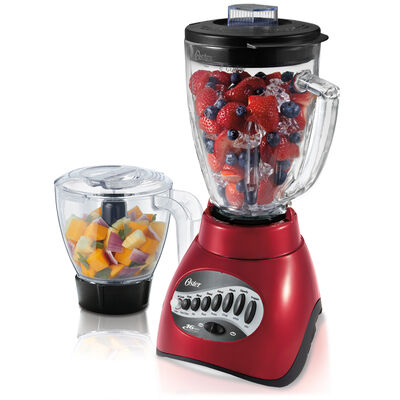 Oster® Precise Blend™ 300 Blender PLUS Food Chopper - Metallic Red - Glass Jar