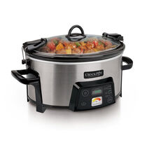 Crock-Pot® Cook & Carry™ 6Qt. Oval Programmable Slow Cooker with Heat saver™ Stoneware, Stainless