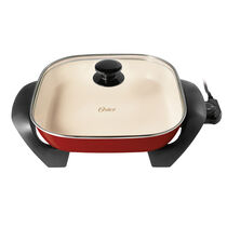 "Oster® Titanium Infused DuraCeramic™ 12"" Square Electric Skillet, Candy Apple Red"