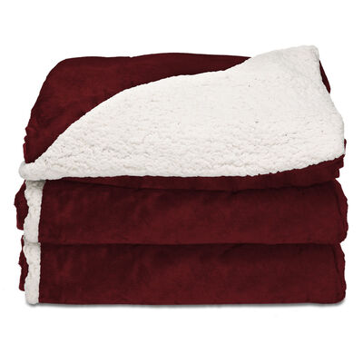 Sunbeam® Reversible Sherpa/Royalmink™ Heated Throw W/Clip-On Controller, Garnet