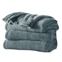 Sunbeam® Twin Channeled Microplush Heated Blanket, Heritage Blue