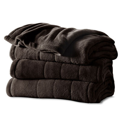 Sunbeam® Queen Velvet Plush Heated Blanket, Walnut