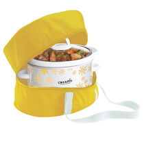 Crock-Pot® Manual Slow Cooker with Bright Yellow Travel Bag, Daisy Pattern