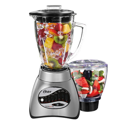 Oster® Precise Blend™ 300 Blender PLUS Food Chopper - Brushed Nickel - Glass Jar - NEW UPDATED LOOK!