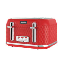 Curve Toaster 4 Slice, Red with Chrome