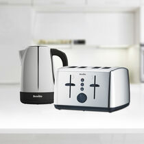 Vista 1.7L Polished Stainless Steel & Plastic Kettle with Matching 4 Slice Toaster Set