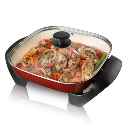 """Oster® DuraCeramic™ 12"""" Square Electric Skillet, Candy Apple Red"""