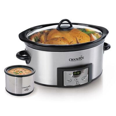 Crock-Pot® 6-Quart Countdown Digital Slow Cooker with Little Dipper® Warmer - Stainless Steel