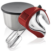 Oster® 6 Speed Hand Mixer with Mixing Bowl, Red