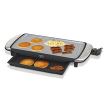 """Oster® Titanium Infused DuraCeramic™ 10"""" x 20"""" Electric Griddle w/ Warming Tray"""