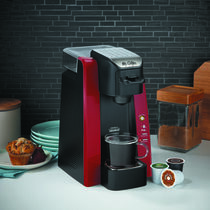 Mr. Coffee® Single Cup K-Cup® Brewing System, removable 24-oz water reservoir, Red