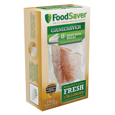 """FoodSaver® GameSaver®  8"""" x 20' Long Vacuum-Seal Rolls, 2 Pack"""