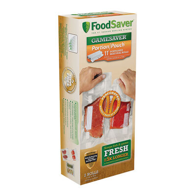"""FoodSaver® GameSaver® 11"""" x 16' Portion Pouch Vacuum-Seal Rolls, 2 Pack"""