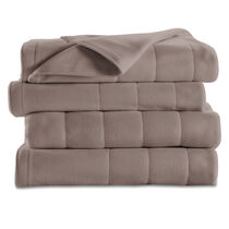 Sunbeam® Twin Quilted Fleece Heated Blanket, Mushroom