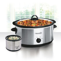 Crock-Pot® 8-Quart Manual Slow Cooker, Stainless Steel with Little Dipper® Food Warmer